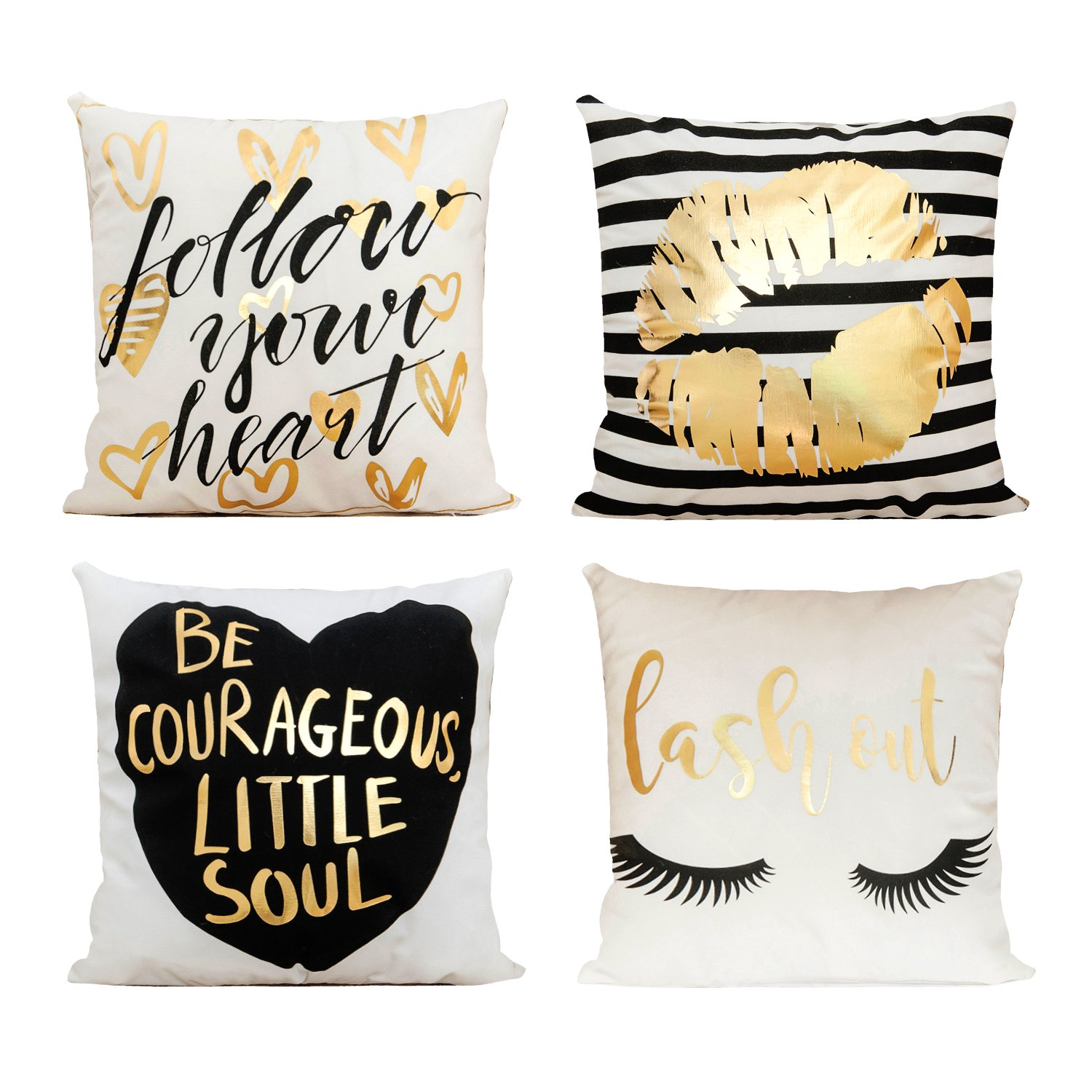 Decor MI [Just Pillowcase Bronzing Flannel Throw Pillow Covers gold Letter Lips pattern design with Zipper Home Decor for Sofa Slipcover Decorative 18x18 inch Set of 4