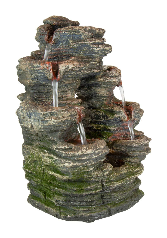 Divided Stone ca Dekoration Zimmerbrunnen mit LED-Beleuchtung Home 24,5x18x35cm Luftbefeuchter Pets /& Garden Wasserbrunnen aus Polyresin