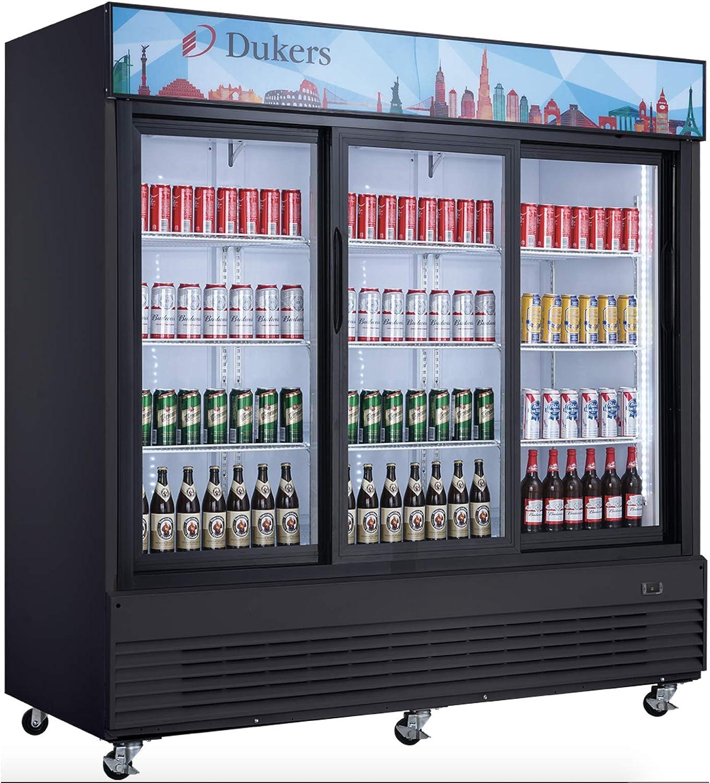 Dukers DSM-68SR Commercial Glass Sliding 3-Door Merchandiser Refrigerator NSF, ETL