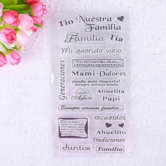 calistouk Inglés Cartas patrón transparente sello de goma DIY álbum artesanía scrapbooking decoración: Amazon.es: Hogar