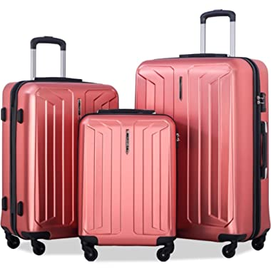 Flieks 3 Piece Luggage Set Spinner Suitcase - TSA Approved - High/Low Temperature Resistance - 20/24/28in (Red)