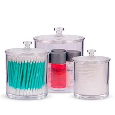 Superior Quality Plastic Apothecary Jars with Lids | Set of 3 by Luxe & Frill. Acrylic Bathroom Organizer, Crystal Clear Canister/Container Good for Q-tips and Candy Buffet