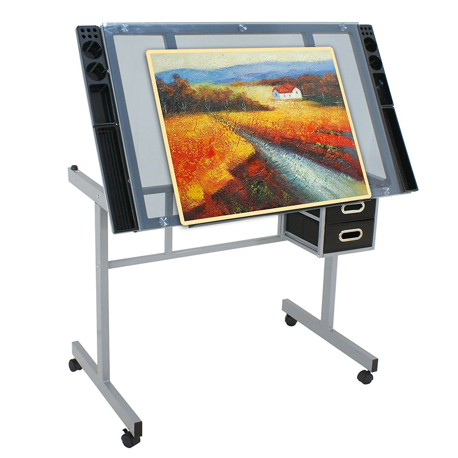 Super Deal Glass Top Adjustable Drawing Desk Craft Station Drafting Table Tempered Glass Top Art Craft w/Drawers and Wheels