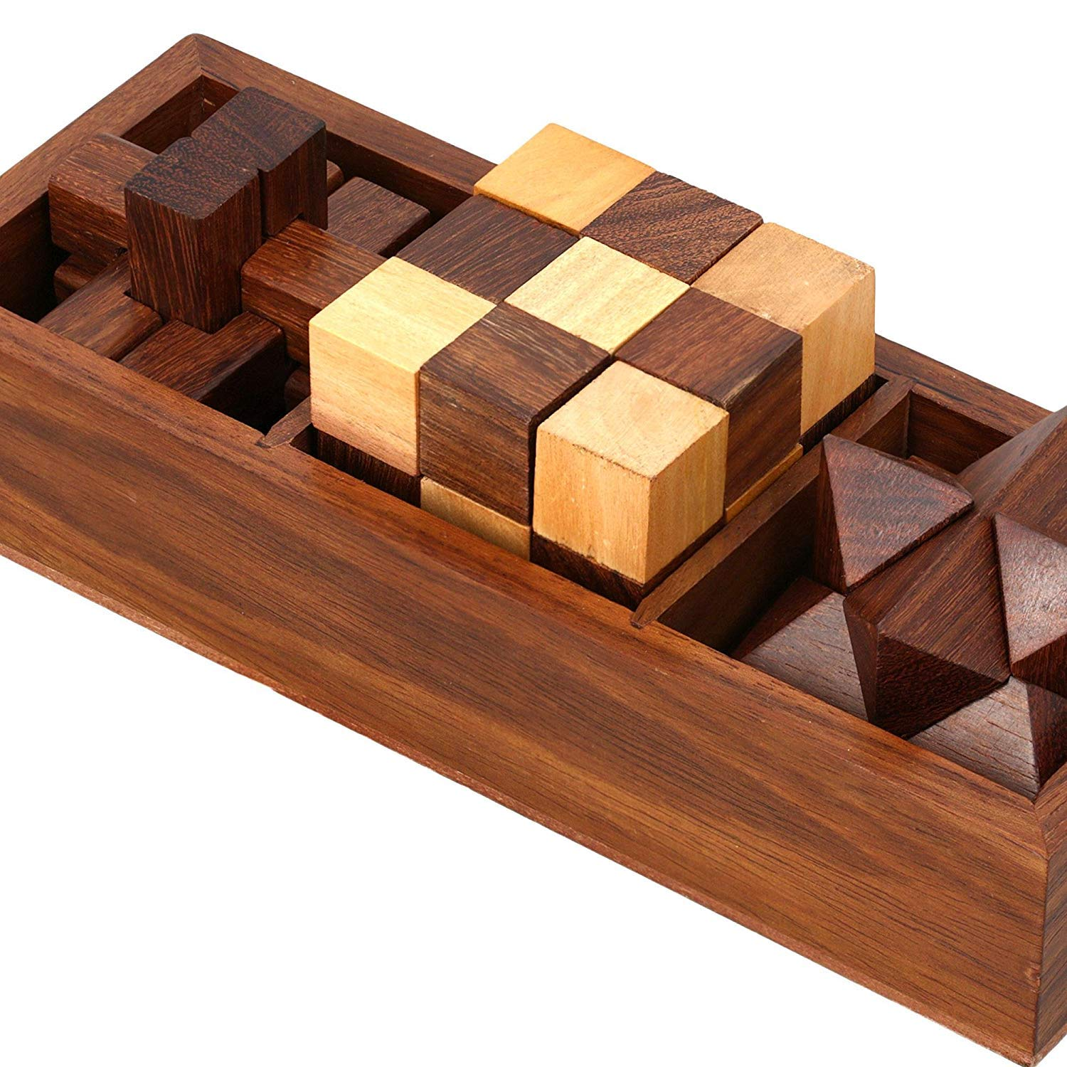 WGF 3-in-One Wooden Puzzle Games Set - 3D Puzzles