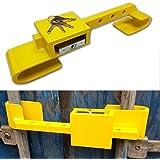 Containerschloss aus gehärtetem Stahl, Diebstahlschutz, inklusive Bügelschloss, 4 Schlüssel, 2-teilig, Farbe Gelb