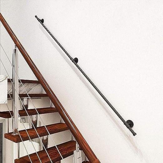 Baranda de escalera de cubierta y pared exterior grúa |Negro del hierro labrado Patio de madera Barandillas |Escalera rieles Soporte barandilla (Size : 120cm): Amazon.es: Bricolaje y herramientas