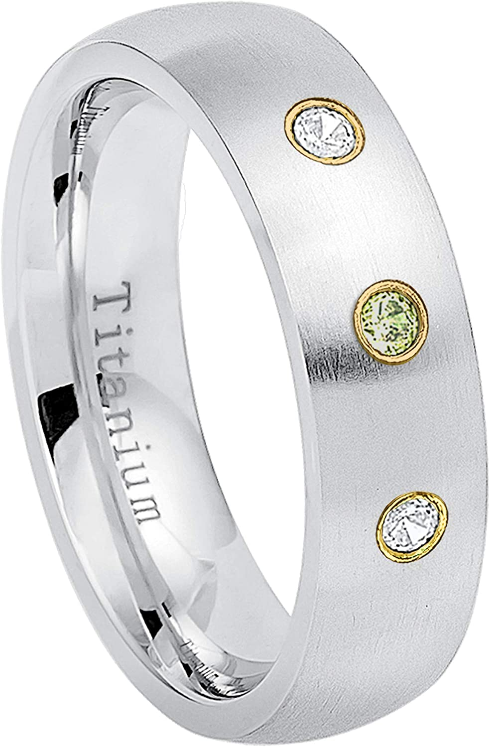5 0.21ctw Peridot /& Diamond 3-Stone Titanium Ring6MM Brushed Finish Comfort Fit Classic Dome White Wedding Band