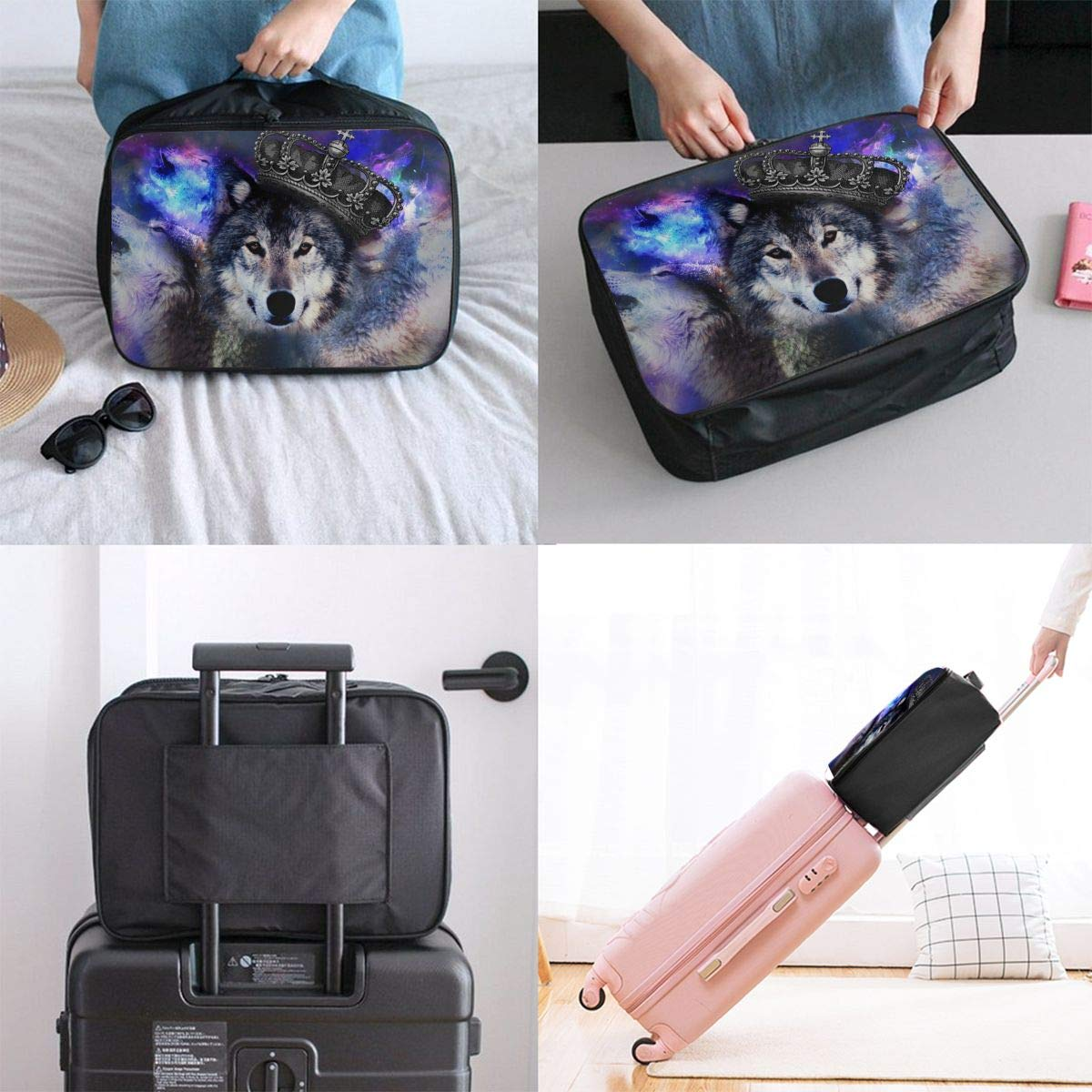 ADGAI Wolf Series Canvas Travel Weekender Bag,Fashion Custom Lightweight Large Capacity Portable Luggage Bag,Suitcase Trolley Bag