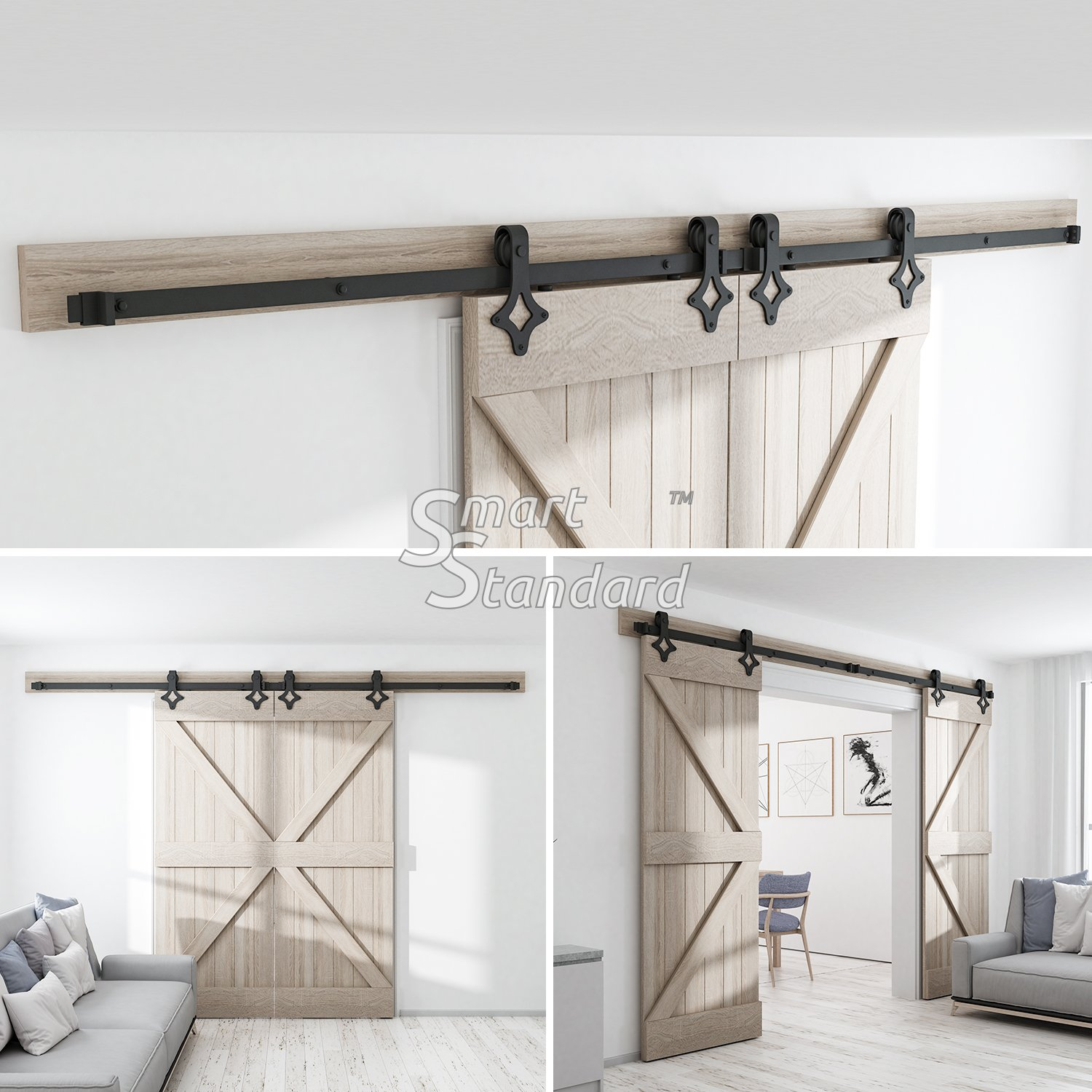 10ft Heavy Duty Sturdy Double Door Sliding Barn Door Hardware Kit - Super Smoothly and Quietly - Simple and Easy to Install - Includes Step-by-Step Instruction -Fit 30'' Wide Door(Rhombic Shape Hanger) by SMARTSTANDARD (Image #3)