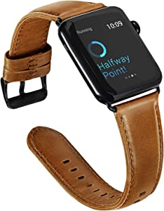 ALADRS Leather Bands Compatible with Apple Watch Band 40mm 38mm, Watch Strap Replacement for iWatch Series 6 5 4, SE (40mm) Series 3 2 1 (38mm), Brown