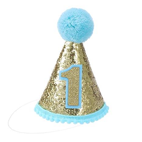 NUOBESTY Diademas de tiara para niños con cono de cumpleaños para niña Suministros para la primera fiesta de cumpleaños de niña (azul)