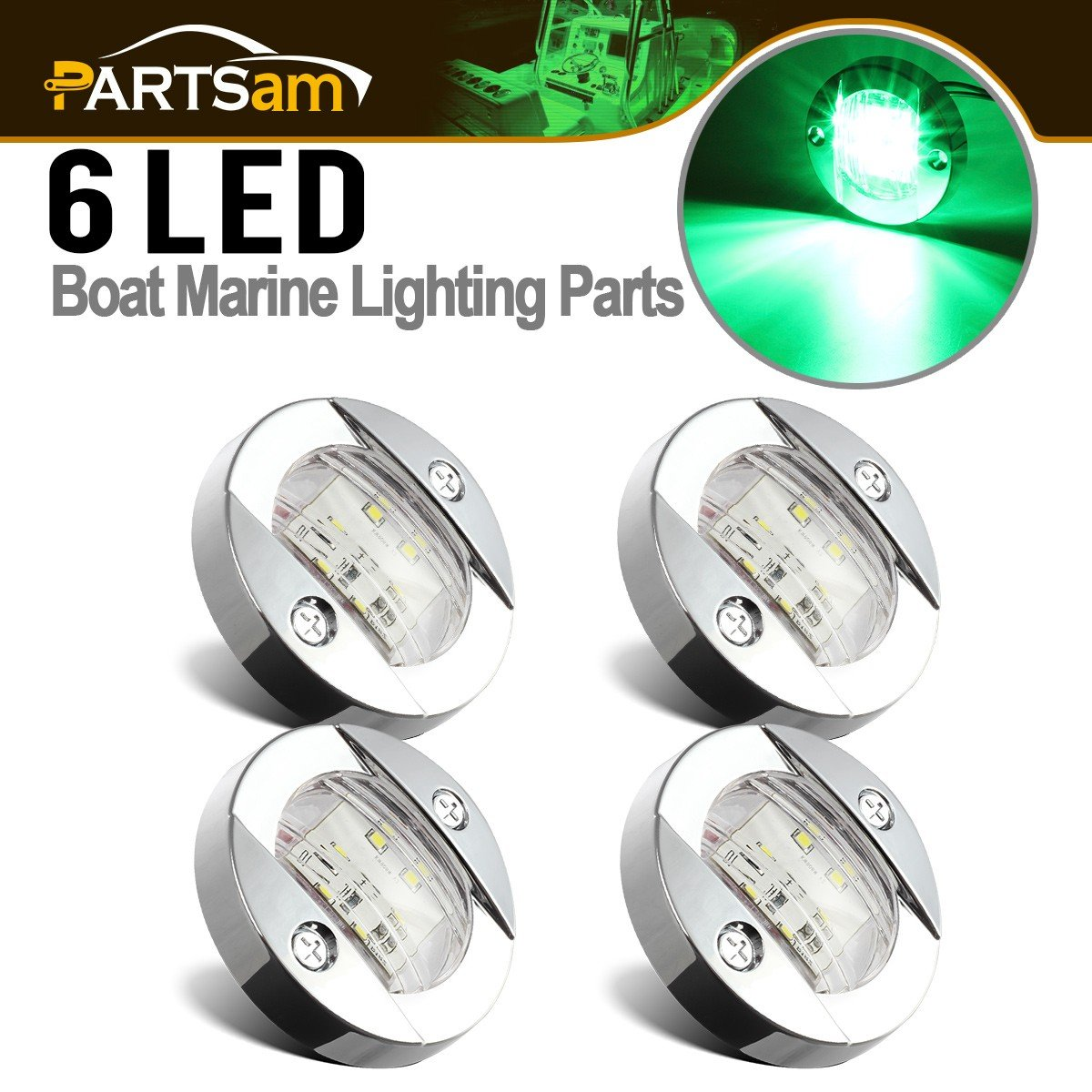 Partsam 3'' inch 12V DC Marine Boat Yacht Transom Anchor Stern Green 6 LED Navigation Light Lamp Clear Lens Chrome Bezel Round (Pack of 4)