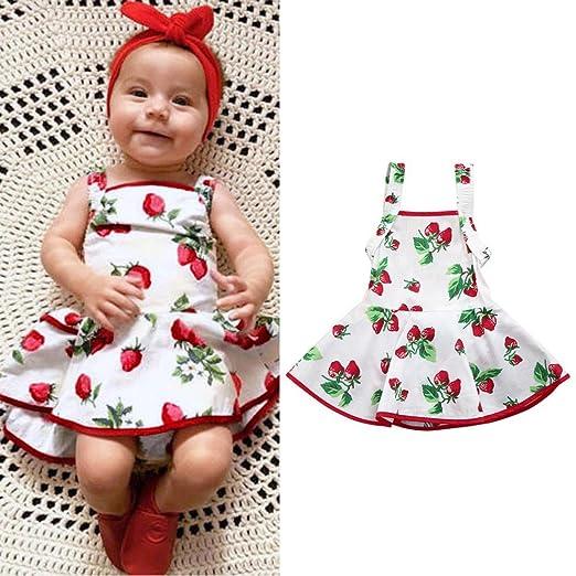 e3ec552da Baby Girls Infant Toddler Kids Strawberry Print Romper Princess Dress  Cuekondy Cute Summer Jumpsuit Playsuit Outfit