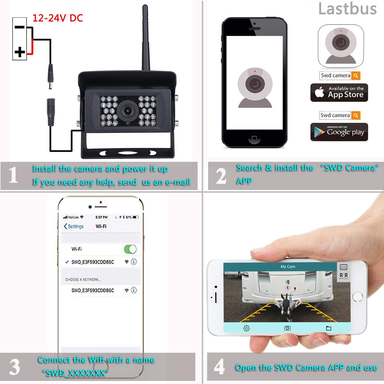 Lastbus Night Vision Wide View Angle Waterproof Wifi Rear View Camera For Iphone Ipad Android Phone