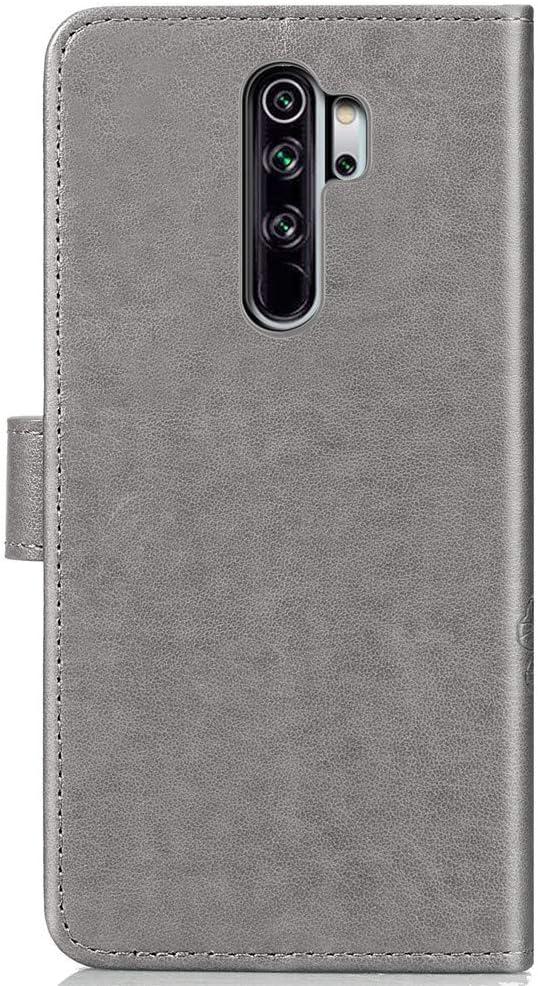 Le Dessin Grav/é Jolis Motif Coque Portefeuille Flip Haoye Compatible pour /Étui Xiaomi Redmi Note 8T Gris