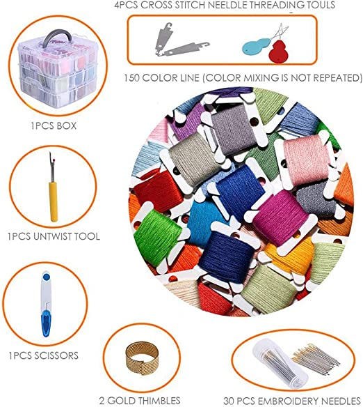 188 pcs Embroidery Skeins Set Colorful Cross Stitch Sewing Thread Kit Three-Layer Boxed Knitting Tool for Bracelet Necklace DIY Hair Ring Project
