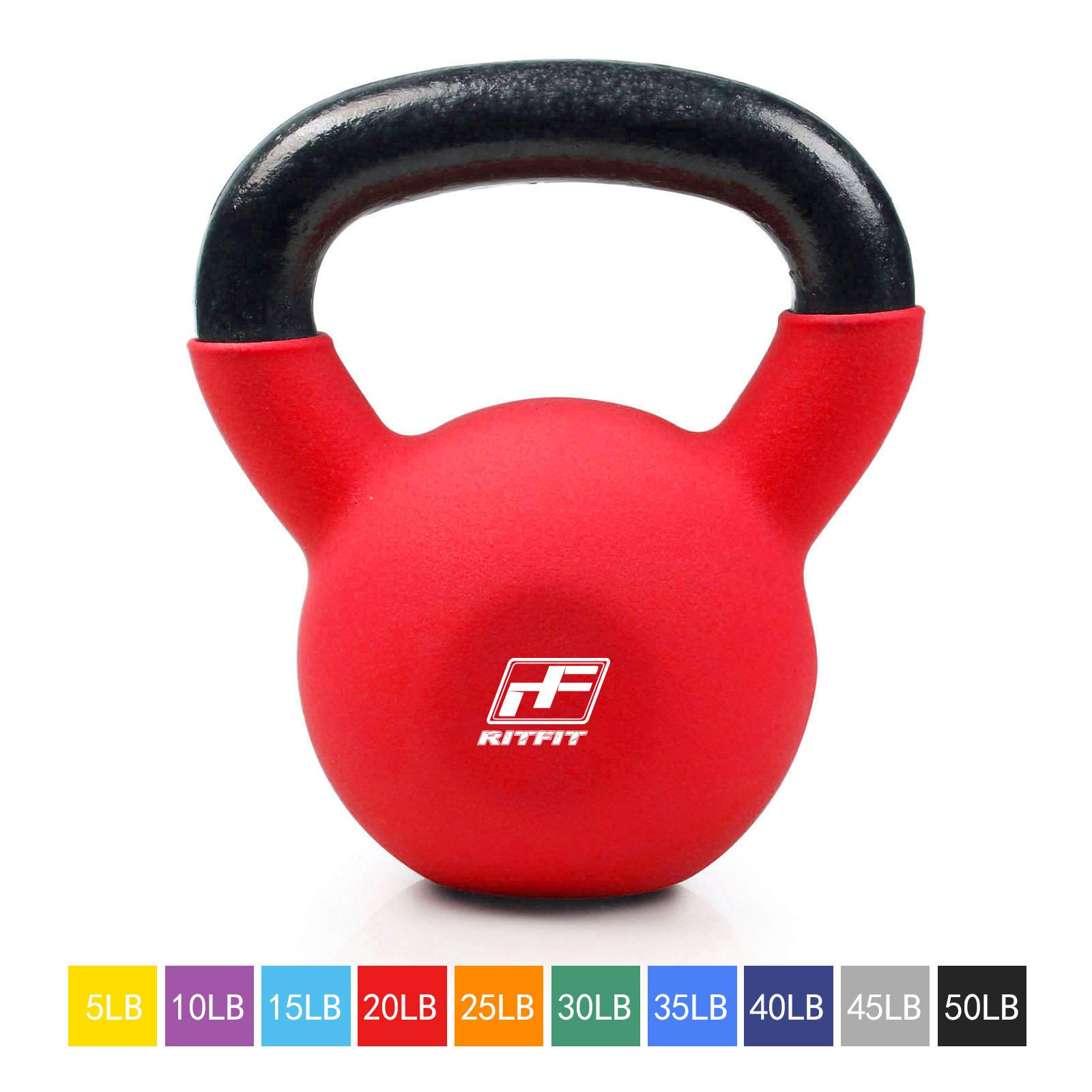 RitFit Neoprene Coated Solid Cast Iron Kettlebell - Great for Full Body Workout, Cross-Training, Weight Loss & Strength Training (5/10/15/20/25/30/35/40/45/50 LB) (20LB(Red))