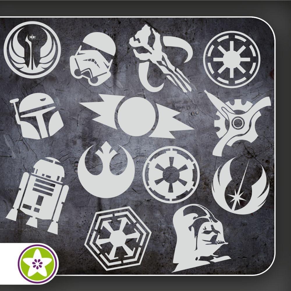 Kiwistar Sticker Bomb Set 07 Bogengröße A4 Darth Vader Imperium Rebellenallianz R2d2 Boba Fett Alte Sith Auto