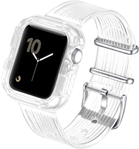 fastgo Compatible with Apple Watch Bands with Bumper Case 38mm/40mm/42mm/44mm, Women Men Clear Sports TPU Smart Watch Strap Band Wristband IWatch SE Series 6/5/4/3/2/1 (Clear Crystal, 42mm/44mm)