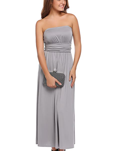 6be0de93018 Zeagoo Women s Sleeveless Empire Waist Strapless Beach Maxi Dress(Small