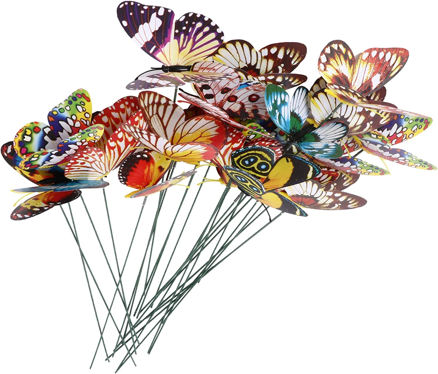 IMIKEYA 24pcs Butterfly Garden Stakes Decor Glow in The Dark Metal Yard Art Indoor Outdoor Lawn Pathway Patio Ornaments