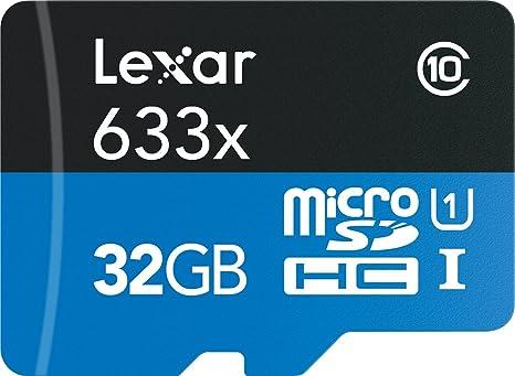 Lexar 633x - Tarjeta Micro SD de 95 MB/sy 128 g, Clase 10, 32 g, 64 GB, Adaptador de Tarjeta Micro SDXC de Memoria SD UHS-1 para cámara Drone GoPro ...
