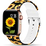 Sunnywoo Sport Band Compatible with Apple Watch 38mm 40mm 42mm 44mm, Soft Silicone Floral Fadeless Strap Replacement Bands fo