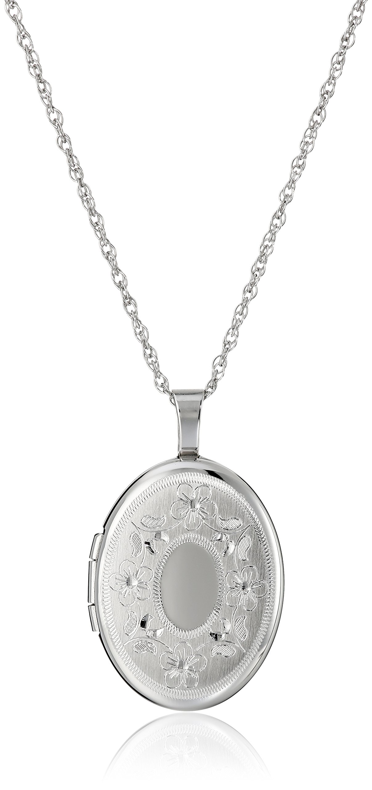 Sterling Silver Oval Hand-Engraved Locket Necklace, 18''