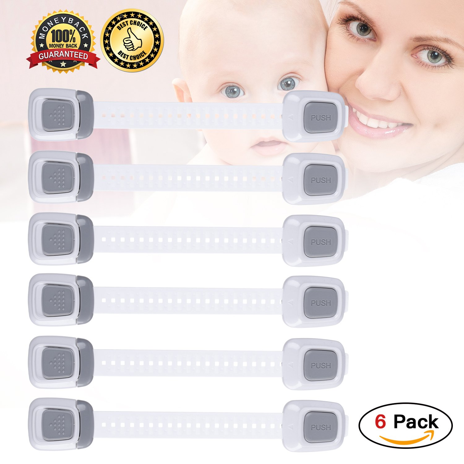 Cabinet Locks Child Safety Baby Proofing Child Safety Cabinet Locks Fridge Lock for Drawers,Toilet Cover,Fridge with Dual Button Operation and 3M Adhesive,6 Pack White-Grey Baby Safety Locks