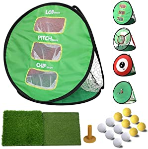 DOBESTS Pop Up Golf Chipping Net 4 in 1 with Turf Hitting Mat for Home Backyard Use, Putting Green Golfing Target Accessories and Swing Pracice with Training Balls and Rubber Tee