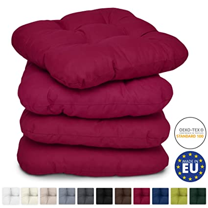 Beautissu Set de 4 Cojines para sillas Lisa 40x40x8 cm - Rojo - para sillas de jardín, sofás, Camas - Juego de Cojines con Relleno voluminoso y cómodo