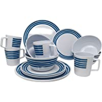 A.Bl/öchl 12/Piezas Esmalte/ Large /Set de Cocina Western para 4/Personas Vajilla de Camping/ Negro /Set de Cocina esmaltado