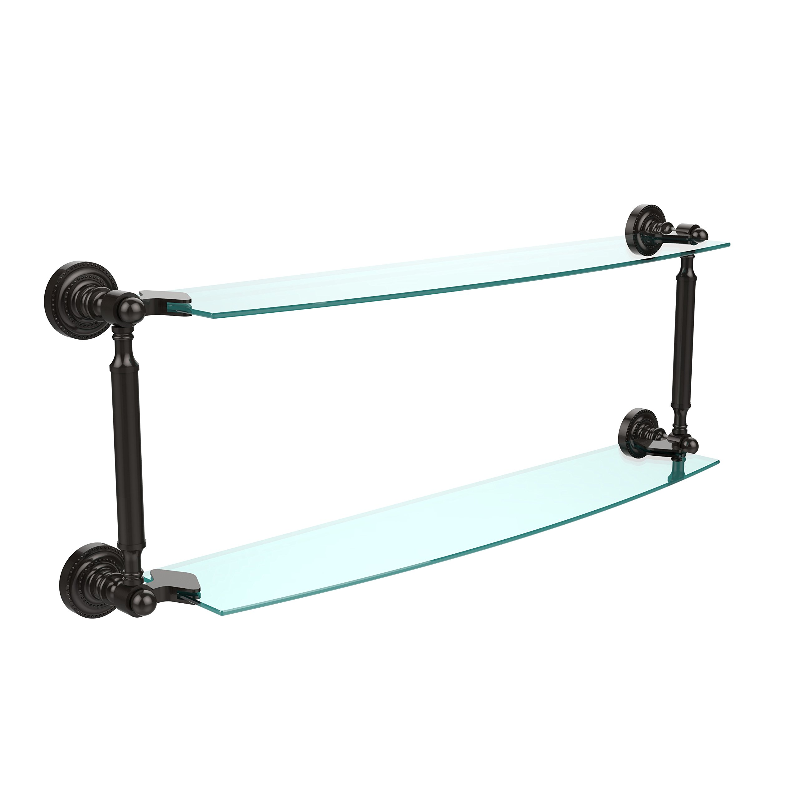 Allied Brass DT-34/24-ORB 24'' x 5'' Double Glass Shelf Oil Rubbed Bronze by Allied Brass
