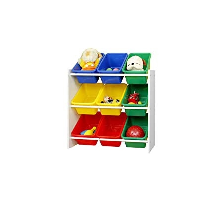 "Muscle Rack KBO261024-BC Kids Storage Organizer with 9 Bins in White, 23.6"" Height, 25.5"" Width: Industrial & Scientific"