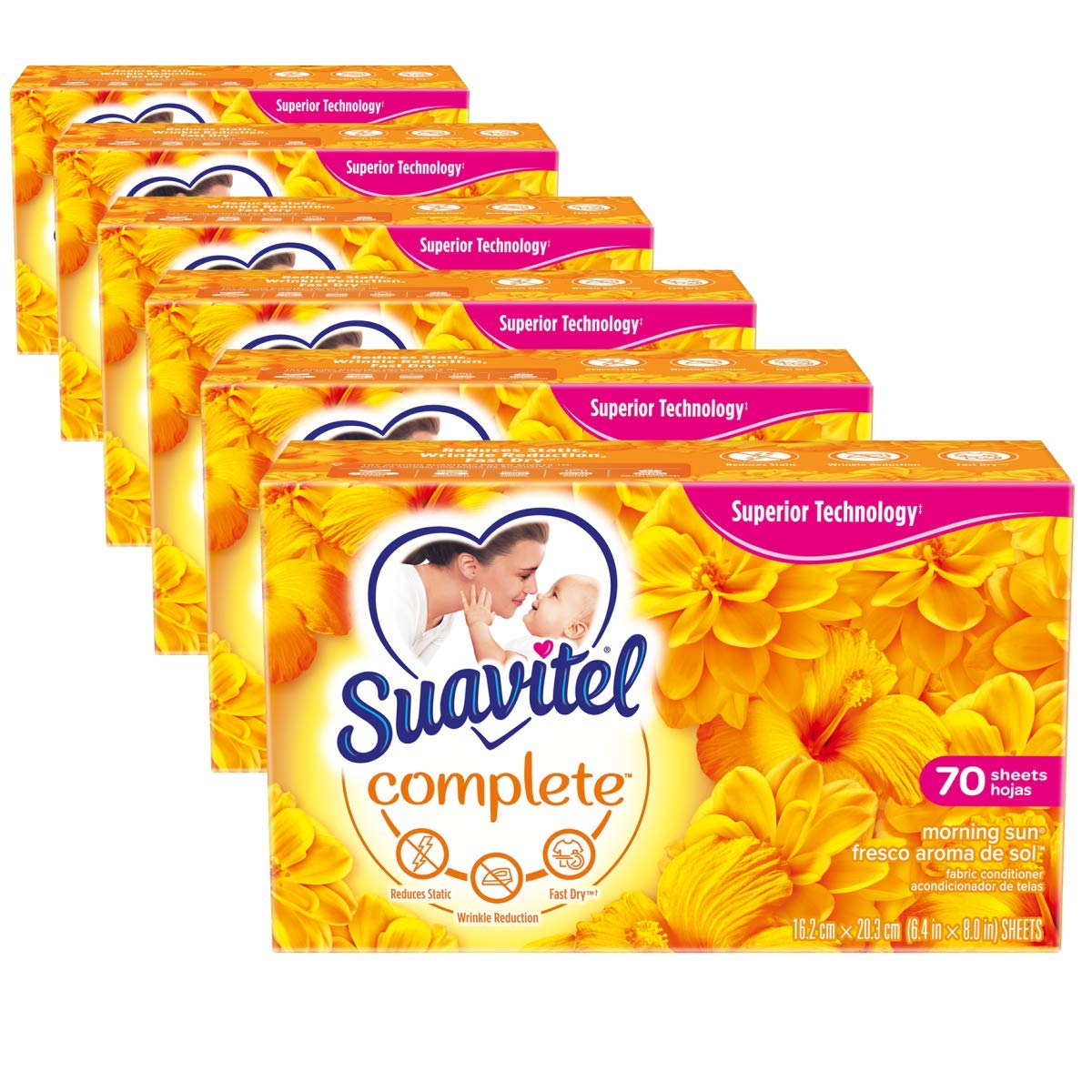 Suavitel Complete Dryer Sheets, Morning Sun, 70 Sheets | Compare to Dryer Balls | Household Supplies | Laundry Scent Boosters, Laundry Sheets & Laundry Softener | Model Number: 139375 (Pack of 6)