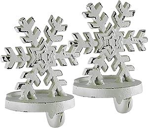 Creative Co-op Snowflake White Cast Iron Christmas Stocking Holder Set of 2