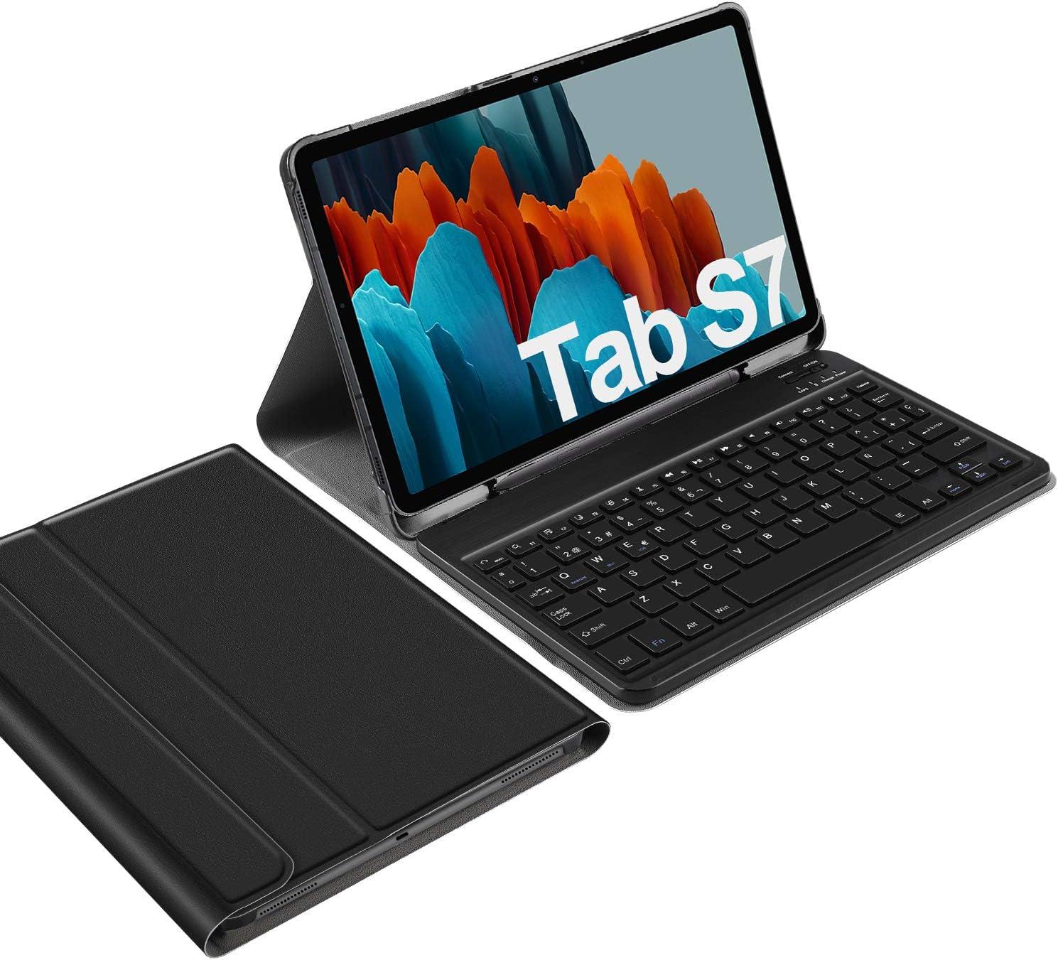IVSO Español Ñ Teclado para Samsung Galaxy Tab S7, para Samsung Galaxy Tab S7 11.0 Teclado, Funda con Removible Wireless Teclado con Ñ para Samsung ...