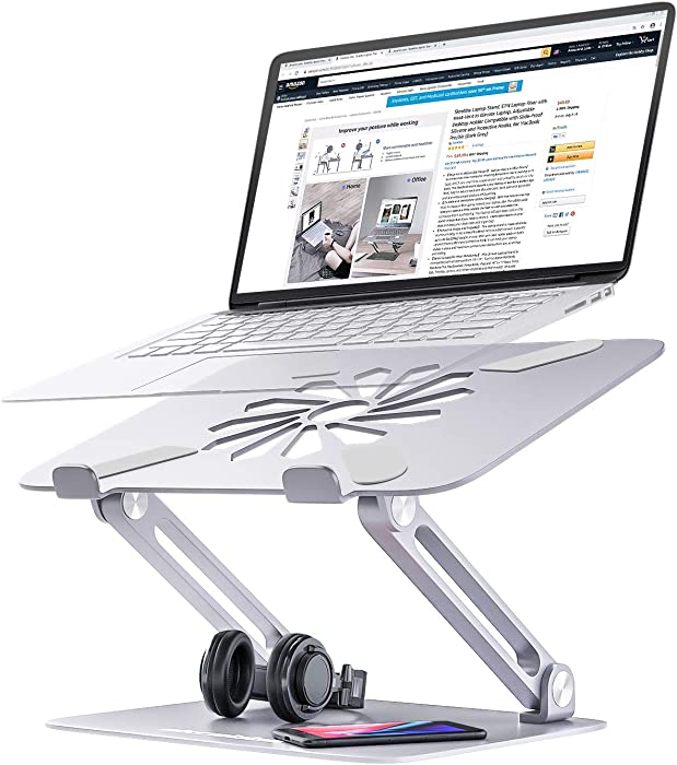 Skrebba Laptop Stand, EPN Laptop Riser with Heat-Vent to Elevate Laptop, Adjustable Ergonomic Desktop Laptop Stand Holder with Slide-Proof Silicone and Protective Hooks, for MacBook Pro/Air (Silver)