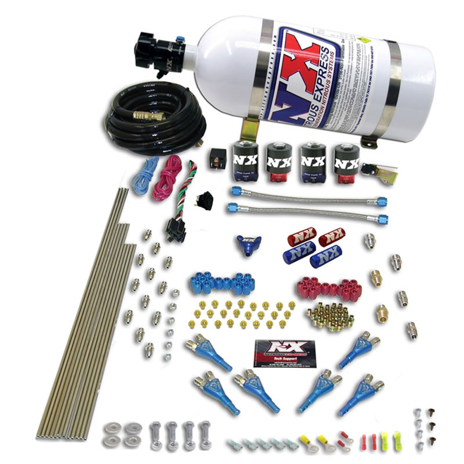 Nitrous Express 90065-00 200-600 HP 8-Cylinder Alcohol Pro Shark Direct Port System with 4 Solenoids