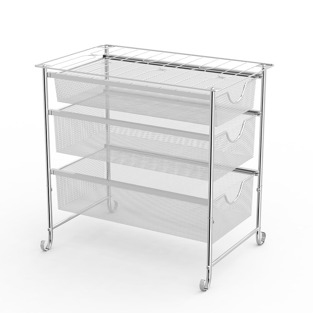NEX 3 Tier Under Sink Organizer, Three Mesh Sliding Baskets Drawers by NEX