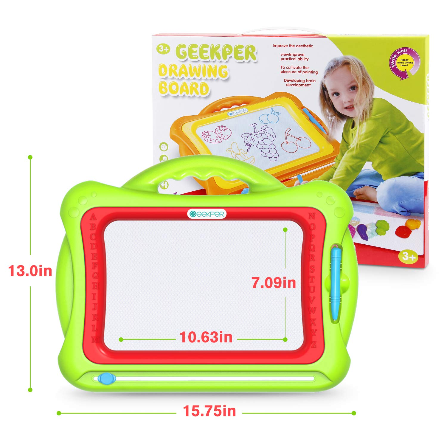 Geekper Green Erasable Colorful Magna Doodle Drawing Board Toys for Kids Writing Sketching Pad with 5 Shape Stamps Magnetic Drawing Board