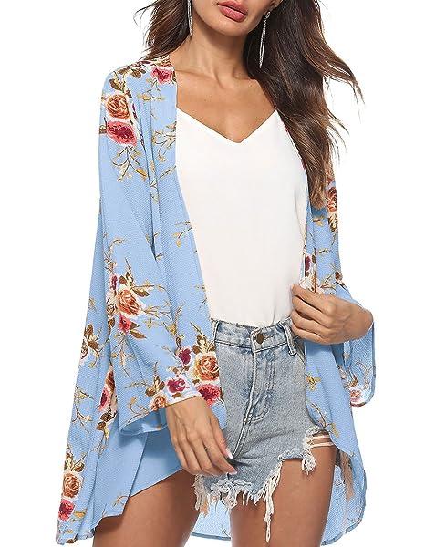Amazon.com: Defal Kimono Flowy gasa de manga larga para ...