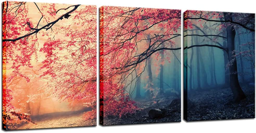 Biuteawal - Modern Tree Painting Black and Red Forest in Fog Landscape Canvas Wall Art Nature Posters and Prints Pictures for Home Living Room Decor Stretched Ready to Hang