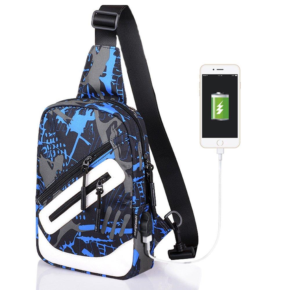 STRIR Bolsos de hombro con USB Recargable, Bolso Mochila de Pecho Cuero para Hombres Bolso Bandolera Bolsa Sling Messenger