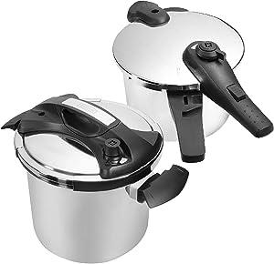 Barton Pressure Cooker Stove Induction Compatible Capacity W/Recipes Book Combo (10 QT and 6 QT)
