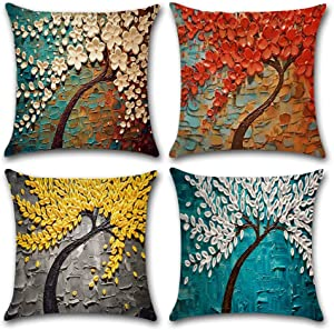 4-Pack Decorative Throw Pillow Cover 18x18 Inch, Oil Painting Home Decor Outdoor Pillow Cushion Cases for Couch, Sofa, Bed (Insert Not Included)