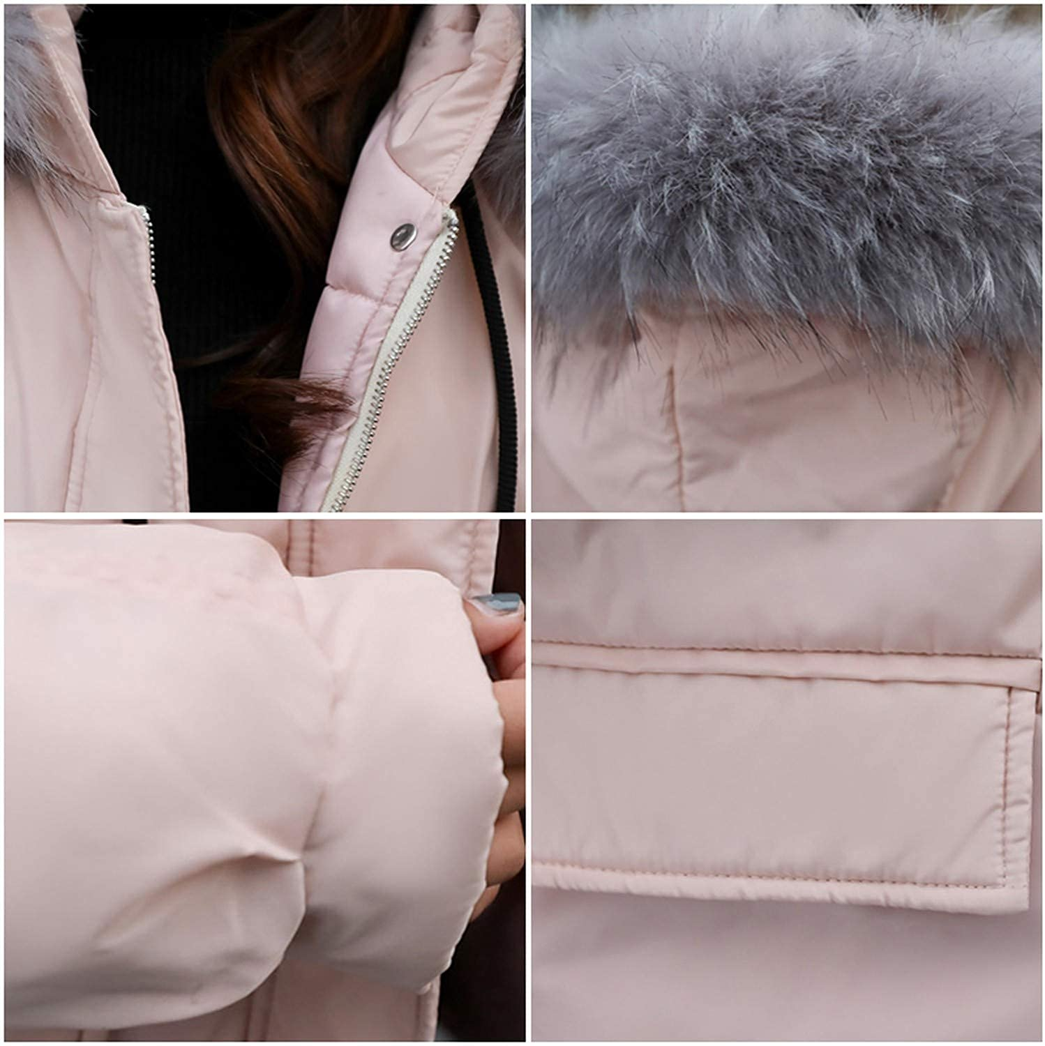 Show-Show-Fashion/&coats Arrival Cotton Padded Female Coat Winter Womens Hooded with Fur Collar Short Jacket W,Pink,M