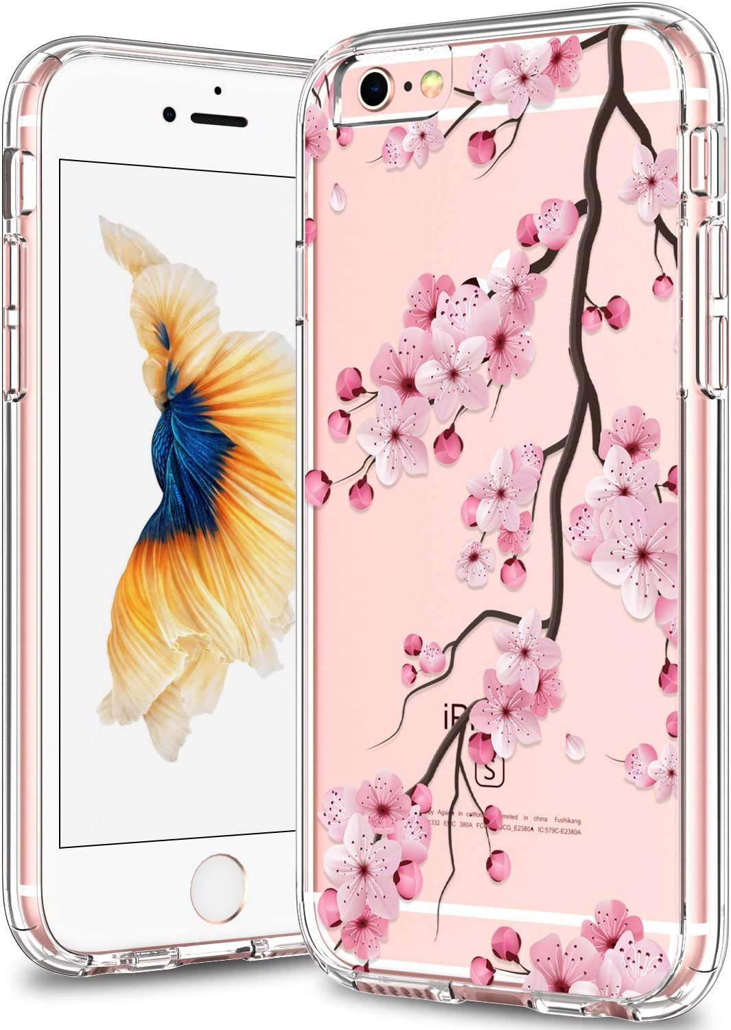 BICOL iPhone 6 Case,iPhone 6s Case,Pink Cherry Blossom FloralClear with Design Plastic Hard Back Case with Soft TPU Bumper Protective Cover Phone Case for Apple iPhone 6/iPhone 6s-29