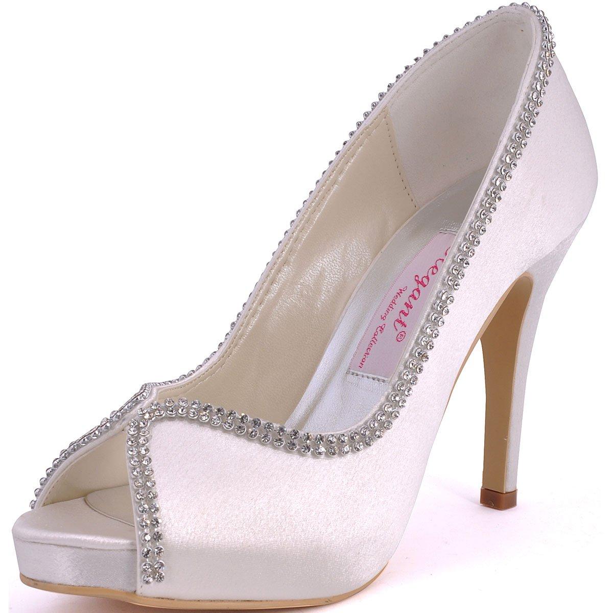 ElegantPark EP11083 Women Pumps Peep Toe Rhinestones Platform High Heel Satin Wedding Bridal Shoes Ivory US 9