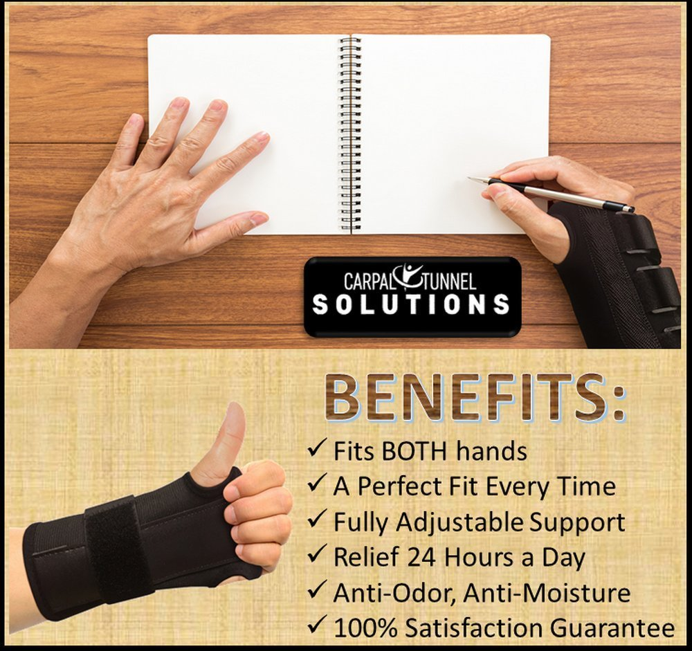 Carpal Tunnel Solutions Daytime Wrist Brace - RELIEF For Carpal Tunnel, RSI, Cubital Tunnel, Tendonitis, Arthritis, Wrist Sprains. Support Recovery & Feel Better NOW. (1 Brace Fits Both Hands) by Carpal Tunnel Wrist Brace (Image #6)